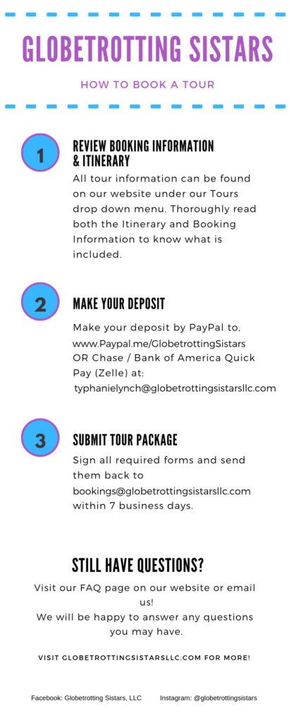 How to Book a Tour | Globetrotting Sistars, LLC
